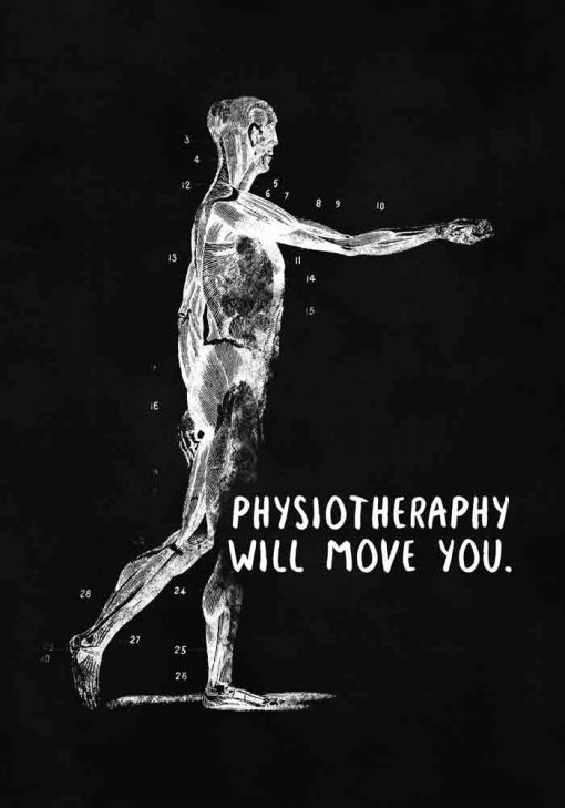 Plakat z napisem - Physiotheraphy will move you