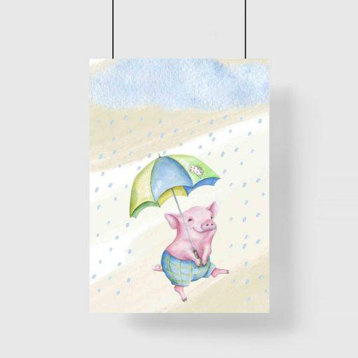 Plakat dziecięcy z prosiaczkiem