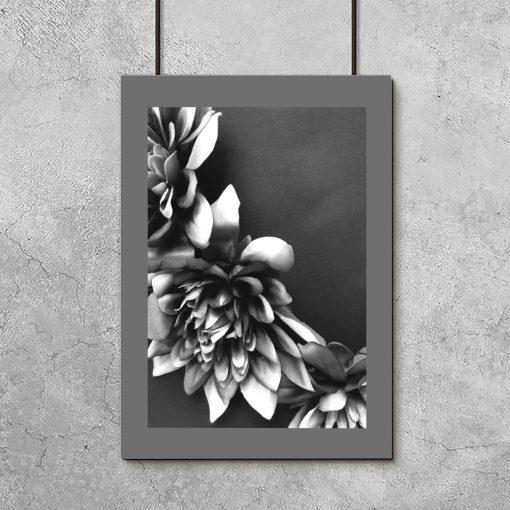 Plakat - Kwiaty czarno-białe do salonu