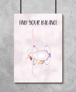 Plakat do studia pole dance - Find your balance