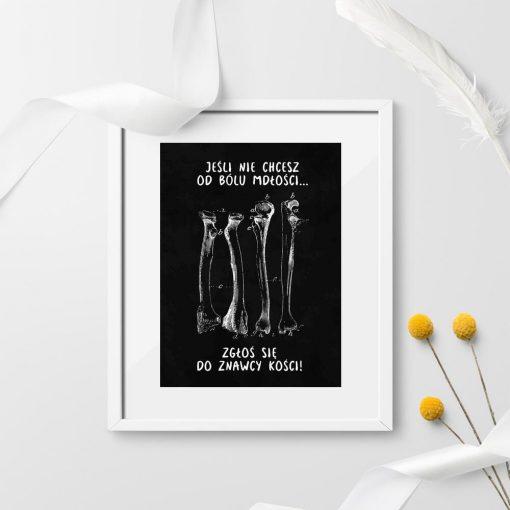 Plakat do gabinetu fizjoterapii z kośćmi