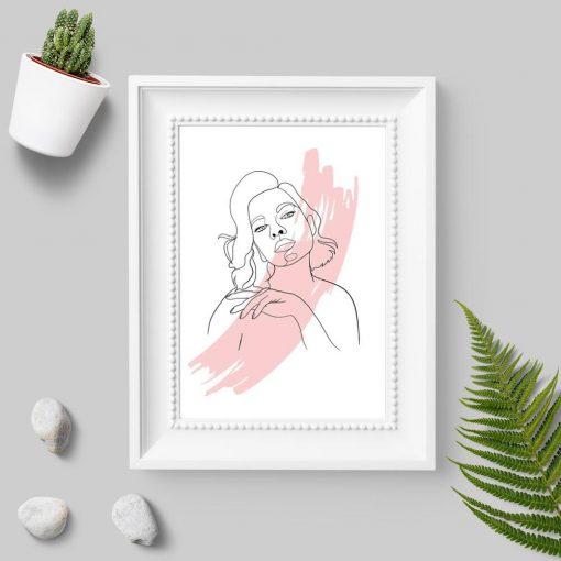 Plakat line art ze zmysłową kobietą