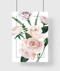jasno-różowy kwiat róży na plakacie botanicznym