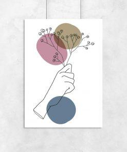 Plakat z dłonią do salonu - Line art