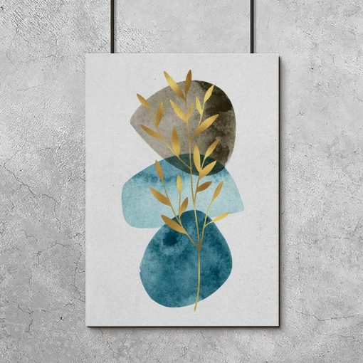 Plakat z gałązką i abstrakcją do salonu