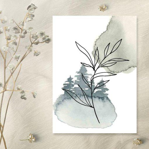 Plakat - Gałązka z liśćmi do sypialni