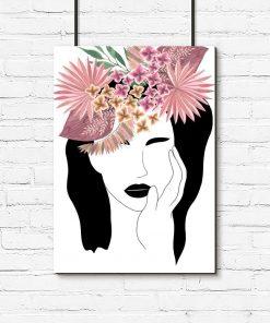 Plakat z egzotycznymi kwiatami do salonu