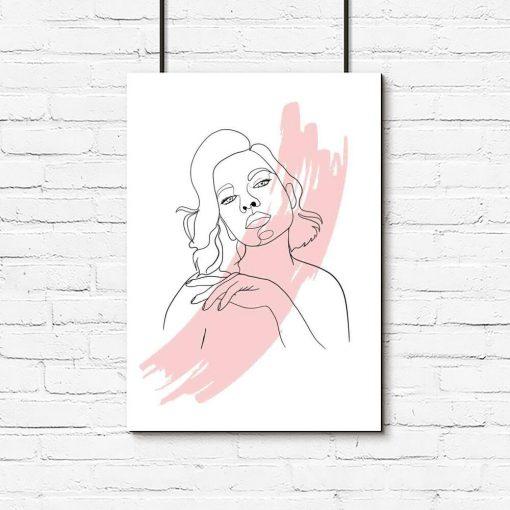 Plakat line art z motywem kobiety