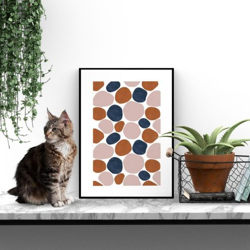 granatowo-beżowy plakat w ramie- abstrakcja