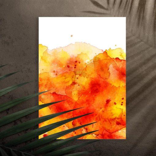 Plakat z żółtą abstrakcją na przedpokój