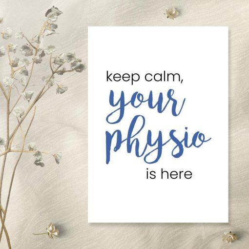 Plakat z niebieskim napisem - Your physio
