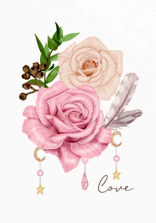 botaniczny plakat z motywem róż do salonu