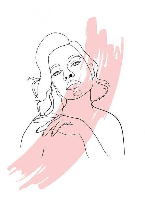 Plakat line art z kobietą
