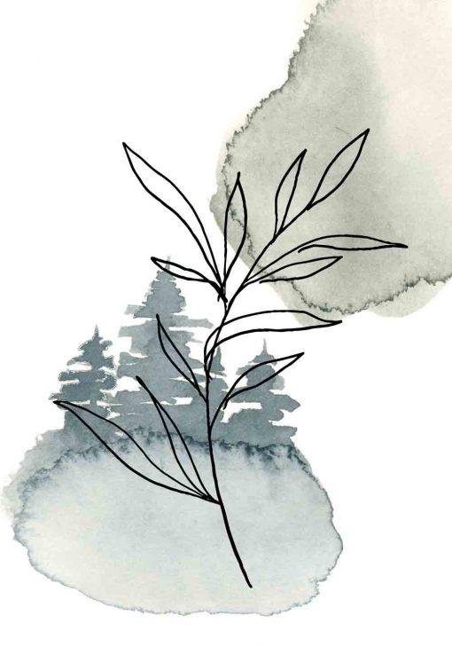 Plakat - Gałązka z liśćmi