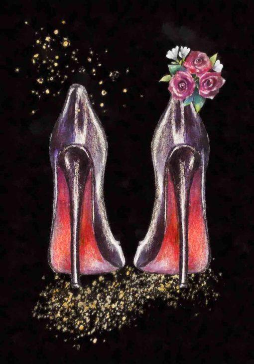 Plakat dla kobiety ze szpilkami