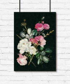 Plakat w ramie z różami stulistnymi