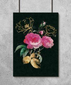Plakat na czarnym tle z kwiatami
