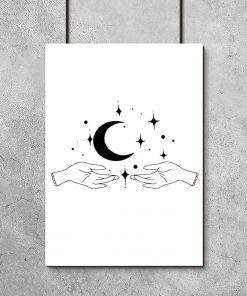 Plakat z dłońmi i księżycem do salonu