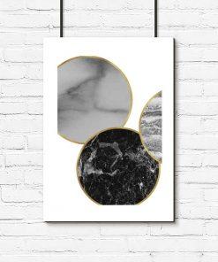 Plakat z kołami z marmuru do sypialni