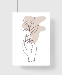 Plakat do salonu - Dłoń trzymająca gałązkę