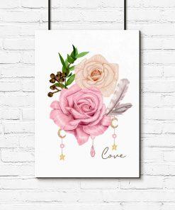 plakat z herbacianą różą