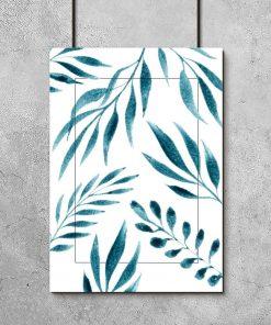 Plakat z motywem liści do salonu