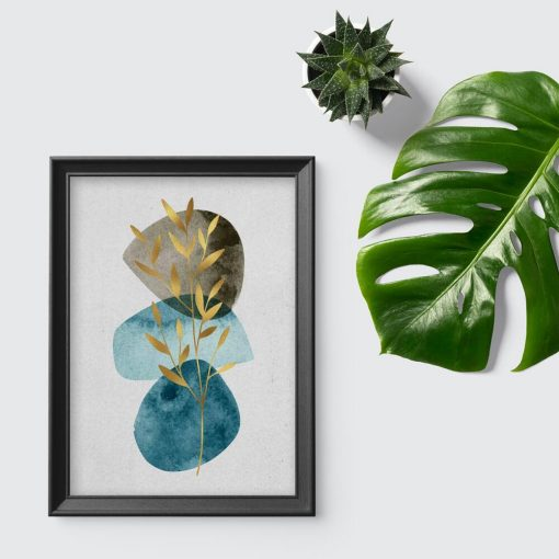 Plakat z gałązką i abstrakcją do biura
