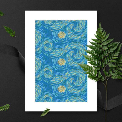 żółto-niebieski plakat z artystyczną falą