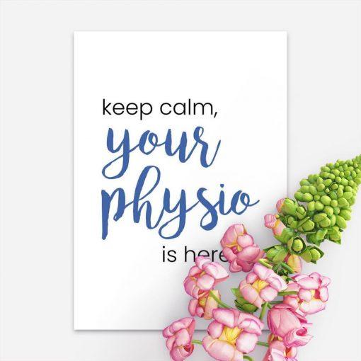 Plakat z niebieską typografią - Your physio