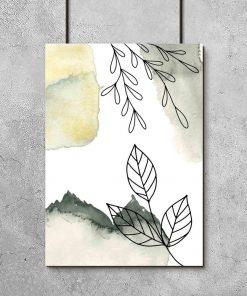 Plakat z liśćmi w stylu line art do salonu