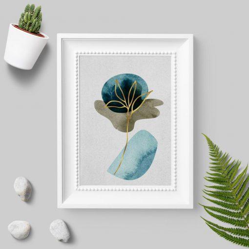 Plakat ze złotą rośliną do przedpokoju