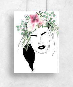 Plakat z kobiecą twarzą do salonu