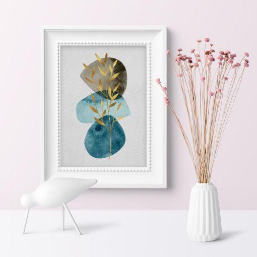 Plakat z gałązką i abstrakcją do pokoju