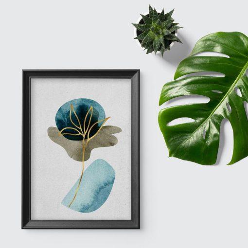 Plakat ze złotą rośliną do biura
