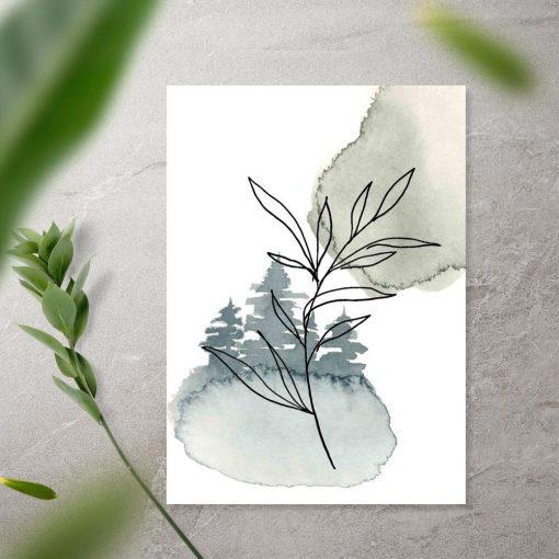 Plakat - Gałązka z liśćmi do przedpokoju