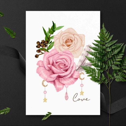 przepiękna różowa różyczka na plakacie do sypialni