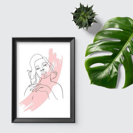Plakat line art z piękną kobietą