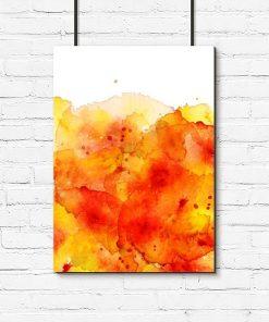 Plakat z żółtą abstrakcją do salonu