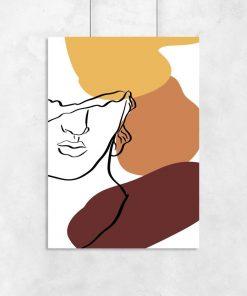 Plakat line art z twarzą mężczyzny do salonu