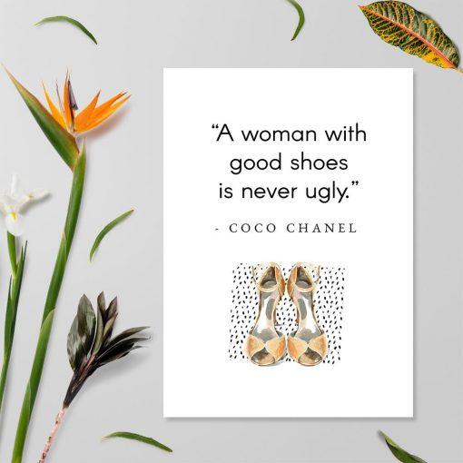 Plakat Coco Chanel do salonu - Good shoes