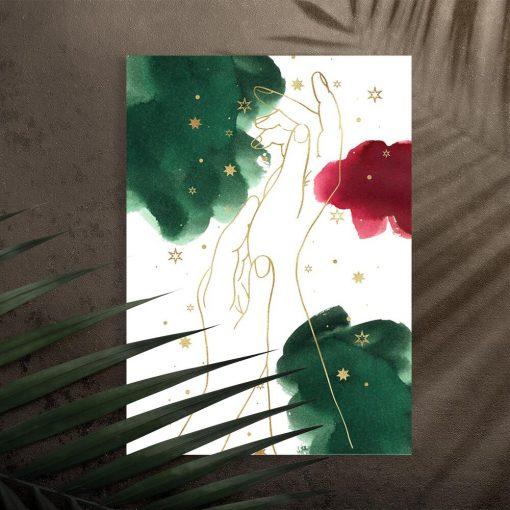 Plakat z dłońmi w stylu line art do salonu