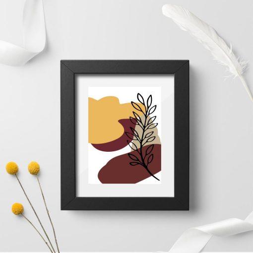 Plakat do przedpokoju z abstrakcją i rośliną