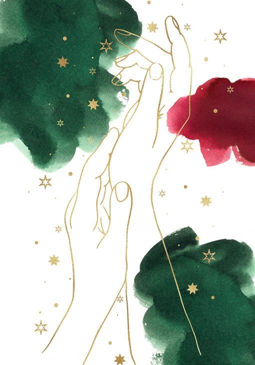 Plakat z dłońmi w stylu line art