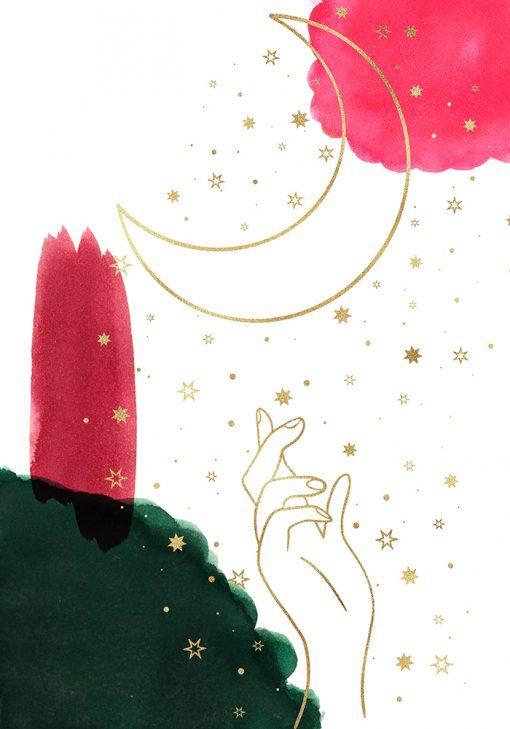 Plakat z dłonią i księżycem