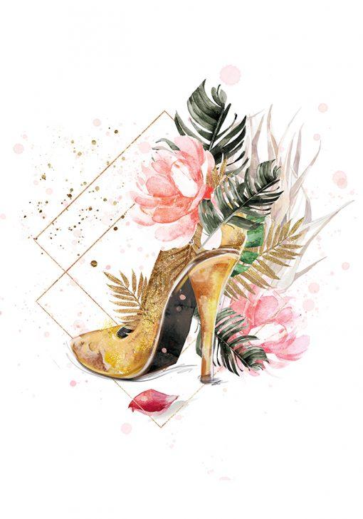 Plakat ze złotym butem