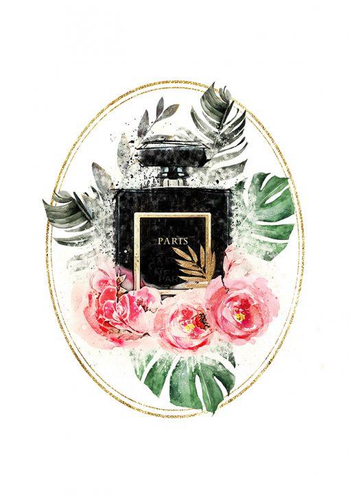Plakat z perfumami paris