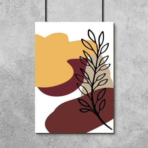 Plakat z abstrakcją i motywem botanicznym