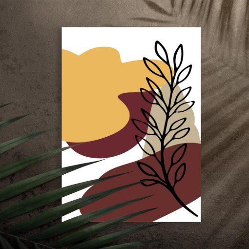 Plakat z motywem botanicznym i abstrakcyjnym