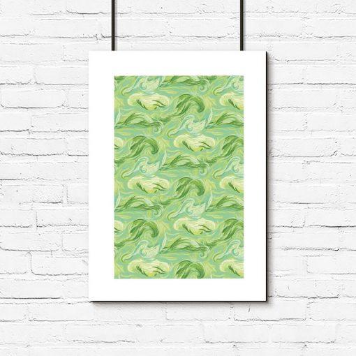 Plakat z zieloną abstrakcją i passe-partout