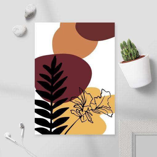Plakat z roślinami na tle abstrakcyjnych plam